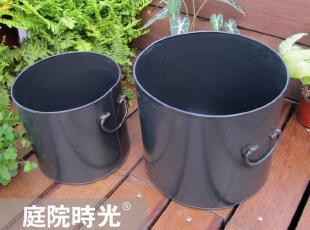 特价【庭院时光】怀旧杂货之铁制简约黑色垃圾桶/花盆/两件套装,