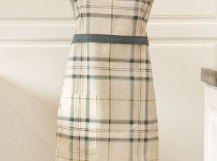 韩版可爱 厨房 咖啡厅围腰 格子围裙工作服时尚美容围裙 (2色),