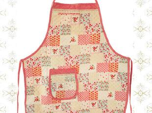 美丽说推荐日单田园绗缝可爱草莓围裙温馨拼布全棉加厚围裙,