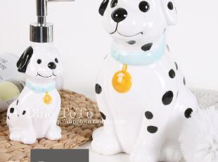 8省包邮 独家可爱斑点狗陶瓷卫浴洗漱件三装套件浴室用品组 实拍,
