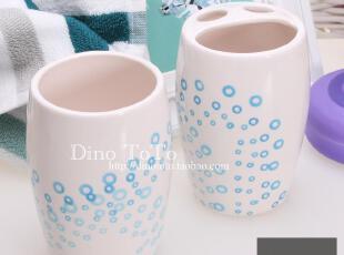 简约蓝气泡圈陶瓷卫浴两件洗漱套装套件浴室用品组 厂销现货实拍,