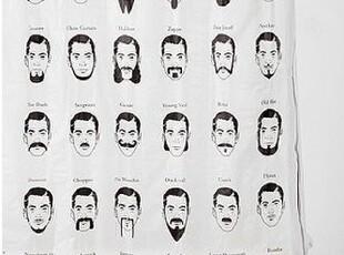 美国代购 urban outfitters Mustache Shower Curtain 胡子浴帘,