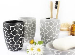 瑞士品牌卫浴SPIRELLA鹅卵石 时尚浴室洗漱用品 创意陶瓷四件套装,