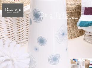 实拍淡蓝烟花陶瓷浴室卫浴用品马桶刷架套装洁厕刷厕所刷马桶杯,马桶配饰,