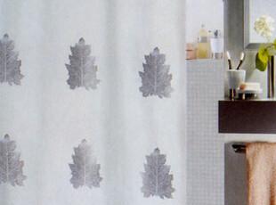 欧洲精品卫浴spirella 商场专柜 银色枫叶涤纶布防水浴帘 包邮,