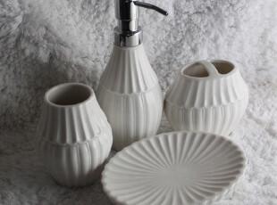 创意陶瓷卫浴4件套 立体异形贝壳白瓷浴室用品套装 简约大方内敛,