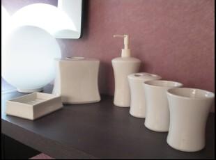 浴室用品 外贸出口 现代简约 经典时尚 卫浴套件 洗漱套装 六件套,