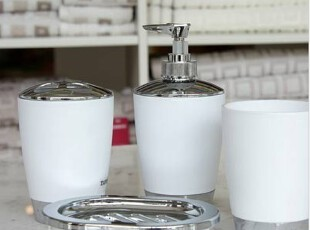 出口品质大牌正品时尚四件套(漱口杯+牙刷架+乳液瓶+皂盒),