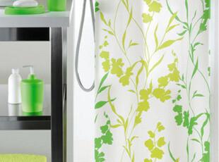 欧洲时尚卫浴spirella绿色常春藤清爽可机洗涤纶防水浴帘 浴室帘,