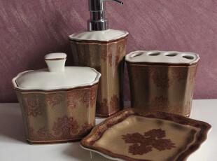 经典中式花纸工艺陶瓷卫浴套装 外贸微瑕疵品 大气典雅 带棉签盒,