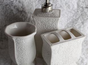 出口全哑光陶瓷卫浴三件套 磨砂浮雕低调奢华 乳液瓶漱口杯牙刷架,