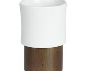 【欧式设计】spirella正品 田园风 陶瓷加胡桃木纹 漱口杯,