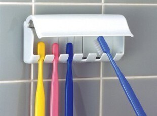 日本进口LEC洗漱牙刷收纳盒 卫浴置物架 吸壁式牙刷架 牙具收纳架,浴室储物,
