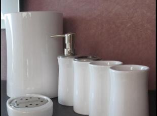 洗漱用品白色 外贸出口 现代简约 经典时尚 卫浴套件 套装 六件套,