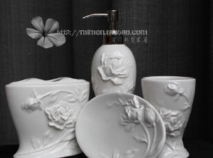 出口品质浴室创意四件套 白玫瑰浮雕 乳液瓶 牙刷架 皂盒杯子套装,