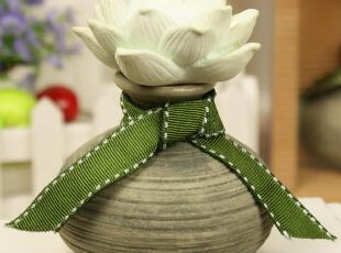无火香薰精油套装 室内房间香水 香熏香 精致睡莲花仿古陶瓷瓶,