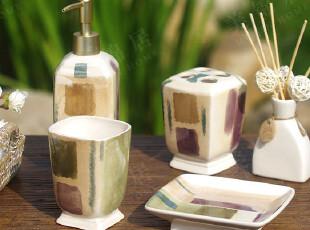 玫瑰罗曼Rose&Roman正品 手绘陶瓷 金色年华浴室卫浴4件套,