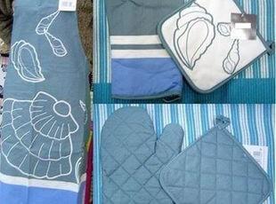 外贸原单地中海风情 围裙微波手套隔热垫超值3件套 0246,厨房工具,