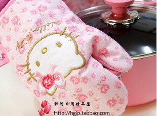 韩国进口hello kitty粉色刺绣蝴蝶结猫头隔热防烫微波炉手套,厨房工具,