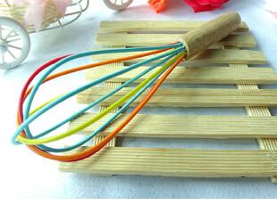 厨房用具 木柄中号深色打蛋器手动搅拌器打蛋器总长:23.5cm,厨房工具,