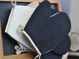 日式杂货Zakka 烘焙工具 蓝白烤箱微波炉手套 棉质带挂扣防烫耐热,厨房工具,