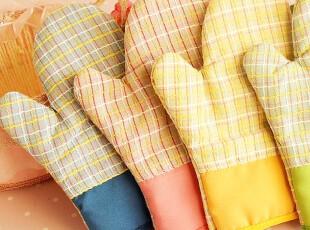 「沽奇汇」创意家居 可爱韩版格子 加厚隔热 防烫微波炉手套,厨房工具,
