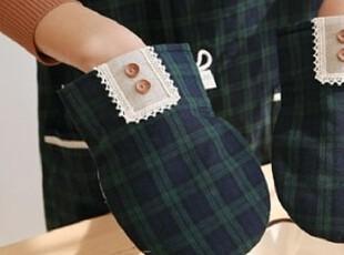 『韩国进口家居』X437 典雅格子花边纽扣装饰微波炉防烫手套,厨房工具,