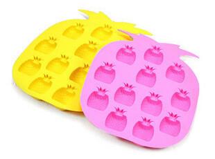 创意美味菠萝冰格 制冰器冰箱制冰  硅胶12格冰盒/冰模,厨房工具,