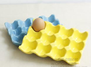 厨房储物 外单陶瓷12格鸡蛋托盘 黄色蓝色可选 请备注颜色,厨房工具,