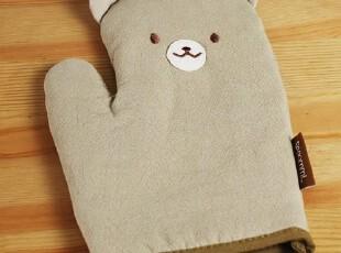 童趣卡通憨厚熊全棉砂洗贴布微波炉手套单只dommi,厨房工具,