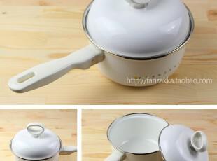 Fan's zakka杂货 日单带盖搪瓷锅 奶锅 烹饪锅(白色字母),厨房电器,