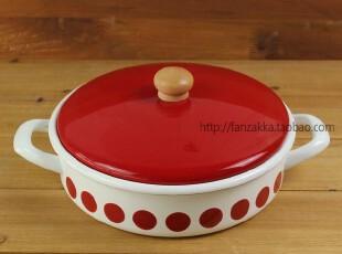 Fan's zakka杂货 日单搪瓷双耳平底带盖烹饪锅 土锅(红色水玉点),厨房电器,