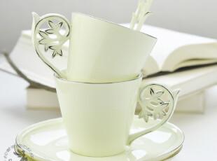 创意欧式咖啡杯碟 宝石瓷 雕花设计 两杯两碟两勺套装,咖啡器具,