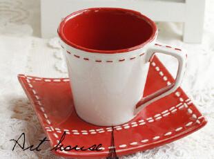 出口欧美红白线条浮雕时尚陶瓷咖啡杯碟 马克杯 奶杯 茶杯 杯子,咖啡器具,