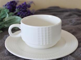 外贸陶瓷 瓷器餐具套装欧美名品LZ格子纹咖啡杯/茶杯/碟子2件套,咖啡器具,