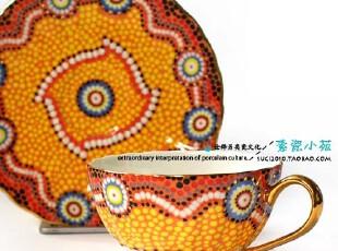 奢华系列.皇室宫廷欧式手描金边咖啡杯碟 sunshine(礼盒装) ,咖啡器具,
