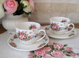 ★公主梦想★韩国家居*英格兰玫瑰*咖啡杯碟双人4件组W1502,咖啡器具,
