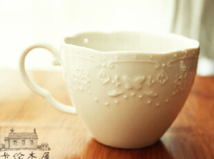 zakka 外单浮雕蕾丝花纹 白瓷 咖啡杯 陶瓷小水杯 奶杯,咖啡器具,