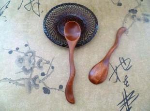 田园生活红咖啡色木曲柄咖啡勺 木小勺 调味勺 迷你搅拌勺,咖啡器具,