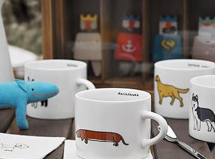 可爱小狗系列 陶瓷咖啡杯 果汁杯 儿童水杯 创意杯子 10款花纹,咖啡器具,