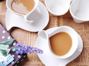 【上田烧】欧式创意花式骨瓷咖啡杯套装 纯白陶瓷咖啡杯碟勺特价,咖啡器具,