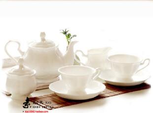 欧式设计优质骨瓷 陶瓷纯白骨瓷咖啡具 宜家/MUJI简约 经典6杯碟,咖啡器具,