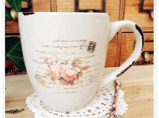 zakka做旧仿搪瓷咖啡杯 复古玫瑰书信陶瓷杯 外贸陶瓷咖啡杯,咖啡器具,