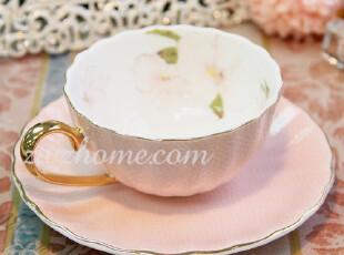 粉色欧式贝瓷咖啡杯碟套装 骨瓷杯碟陶瓷茶杯2套包邮(限江浙沪),咖啡器具,