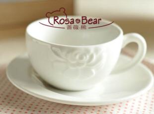 优雅白色玫瑰花浮雕意式咖啡杯  (带盘)  家居陶瓷 出口,咖啡器具,