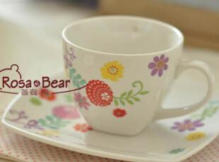 优雅小花咖啡杯  茶杯 家居陶瓷 外贸 出口,咖啡器具,