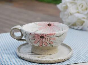 11.12【韩国家居】古着手绘花朵 手工陶瓷咖啡杯含碟  多色,咖啡器具,