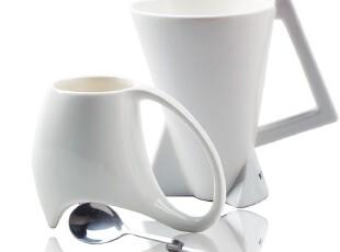 HYU情侣杯 马克杯 陶瓷马克杯  咖啡杯  创意杯子 4件套 纯白色,咖啡器具,