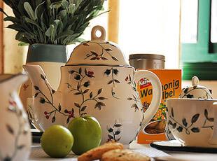 红雀冬青浆果系列 咖啡壶 咖啡杯 咖啡餐具套装 11件套,咖啡器具,