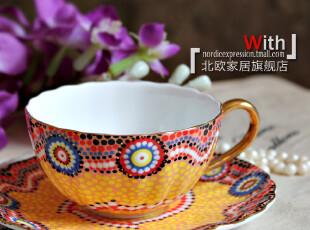 双11 大促销欧式 印度名族风范 骨瓷描金边咖啡杯垫碟 套装,咖啡器具,